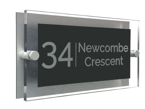 Rectangle Shape - Clear Acrylic House Sign - Anthracite Colour with Silver text in Font  4